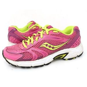 Saucony pink green running shoes